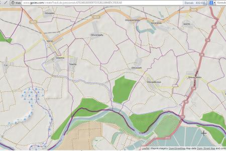 Az út az OpenStreetMap.org felületén dec. 1-jén (kék szaggatott). Félelmetesen gyors adatbázis
