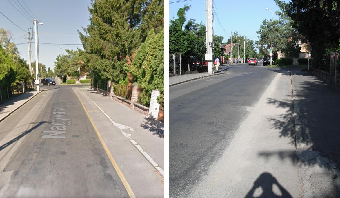 A korábbi felfestés eltűnt a kétirányúsítással (bal oldali kép forrása: Google Maps, jobb oldali kép: Sárszegi Attila)
